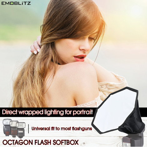 Universal Compact Octagon Flash Softbox for portrait flash photography compatible with majority of on-camera hotshoe speedlight flash