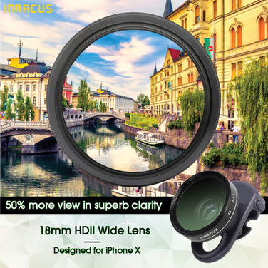 [For iPhone X] 18mm HDII Wide Lens & Filter Kit with superb clarity from edge to edge