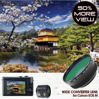 [For Canon EOS M] PRO HD II 0.45x Wide Converter Lens for Canon EOS M100 M10 M6 M5 M3 with EF-M 15-45 IS STM (49mm)