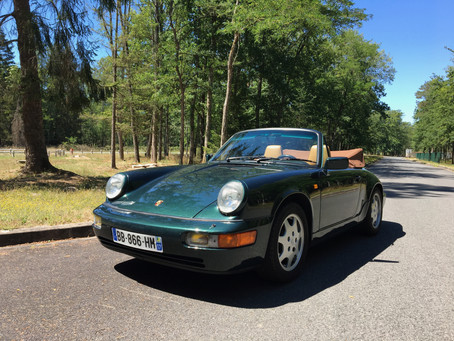 VENDUE - Porsche 964 C2 Cab, rare config. couleur, française, matching, carnet, 96.000 kms!