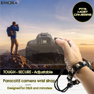 TOUGH Universal Paracord wrist camera strap for DSLR, mirrorless and full frame cameras - Camo Beige