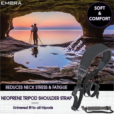 Universal Ergonomic Curved Neoprene Tripod Shoulder Strap with adjustable length and quick release buckle for tripod center column and folded tripod legs