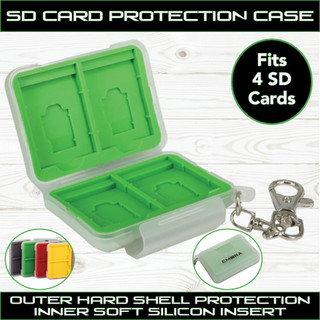 SD Card Hard Shell Protect Case with secure silicon slots and quick release hook