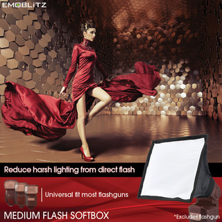 Universal Medium Flash Softbox compatible with majority of on-camera hotshoe speedlight flash