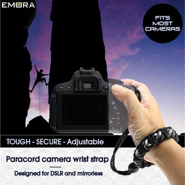 TOUGH Universal Paracord wrist camera strap for DSLR, mirrorless and full frame cameras - Camo White
