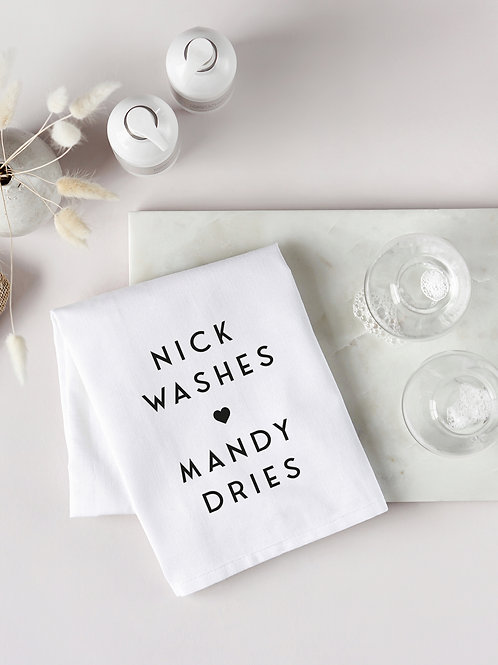 Washes and Dries Tea Towel
