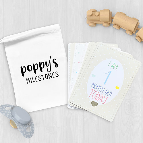 Baby Milestone Cards in White Bag