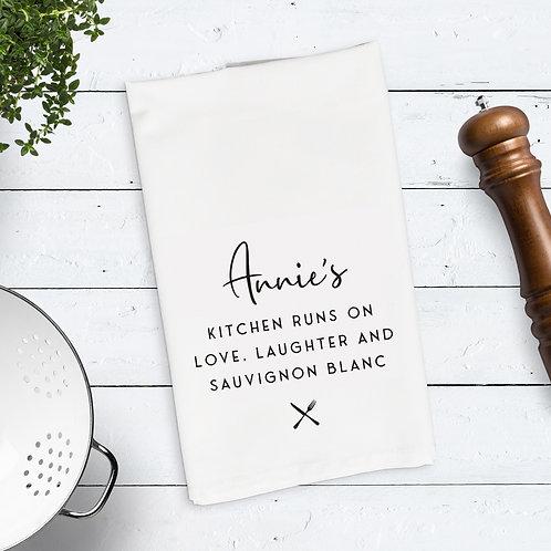 Love Laughter Wine Tea Towel