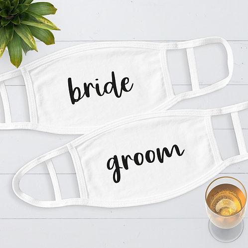 Bride and Groom Wedding Face Masks