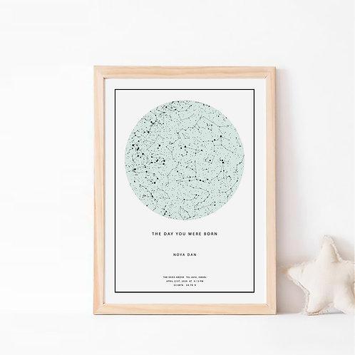 המינט  -  תמונת כוכבים בצבע מנטה על רקע לבן