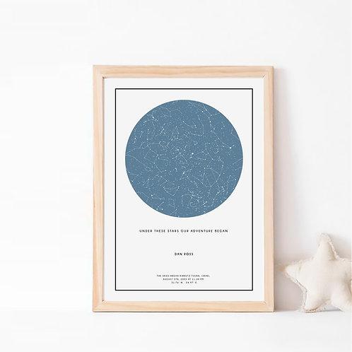 הנייבי  -  תמונת כוכבים בצבע כחול נייבי על רקע לבן