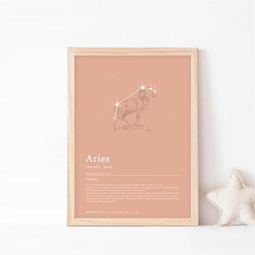 אריס- תמונת קונסטלציה (קבוצת כוכבים) המייצגת את מזל טלה- צבע בוהו