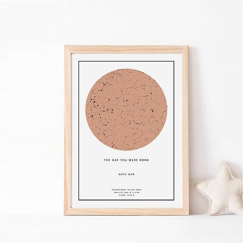 הבוהו- תמונת כוכבים בצבע חום חמרה על רקע לבן