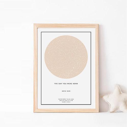האייבורי- תמונת כוכבים בצבע אופווייט/ מוקה על רקע לבן