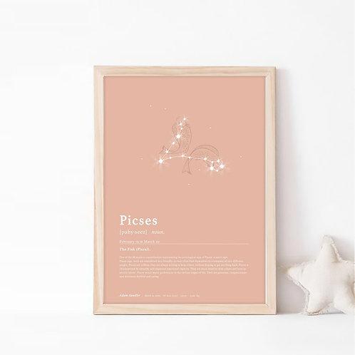 פייסיז- קבוצת כוכבים המייצגת את מזל דגים- צבע בוהו