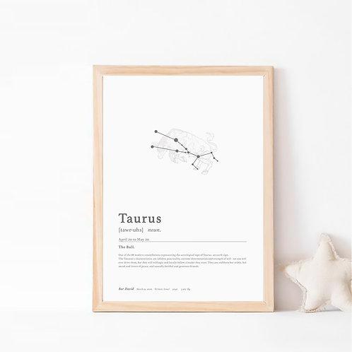 טורוס- קבוצת כוכבים המייצגת את מזל שור- צבע קלאסיק