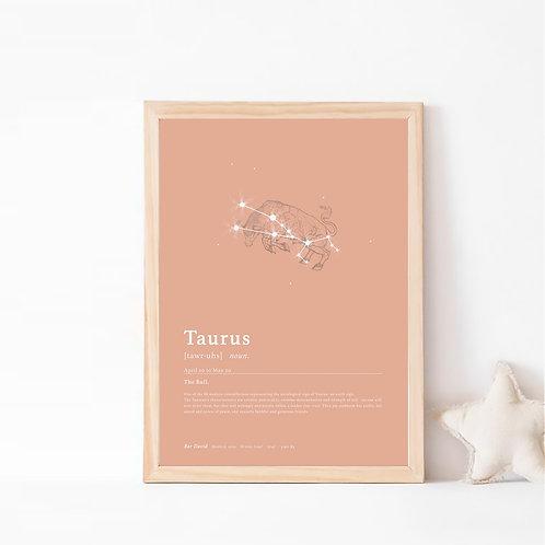 טורוס- קבוצת כוכבים המייצגת את מזל שור- צבע בוהו