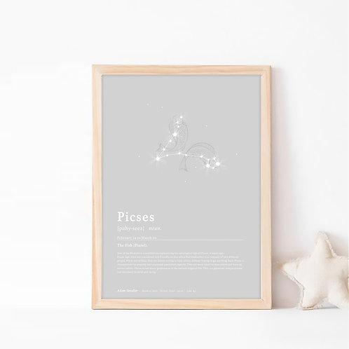 פייסיז- קבוצת כוכבים המייצגת את מזל דגים- צבע לונה