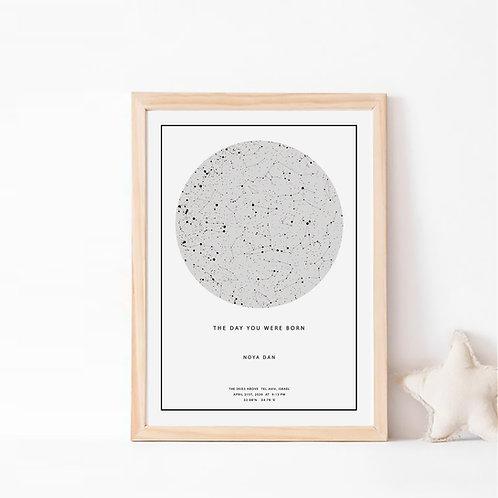 מפת כוכבים מתנה מקורית רעיון למתנה לגבר מתנה לאישה, מתנה ליום נישואין, עיצוב חדר ילדים מתנה לחתונה, מתנה לחברה מתנה ליולדת בן