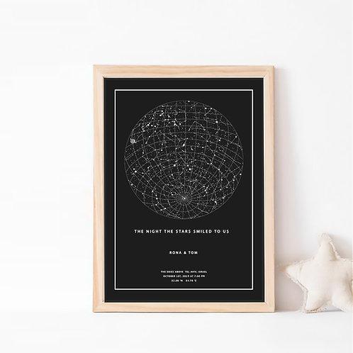 המיסטיק- תמונת כוכבים בצבע שחור על רקע שחור, עם גריד