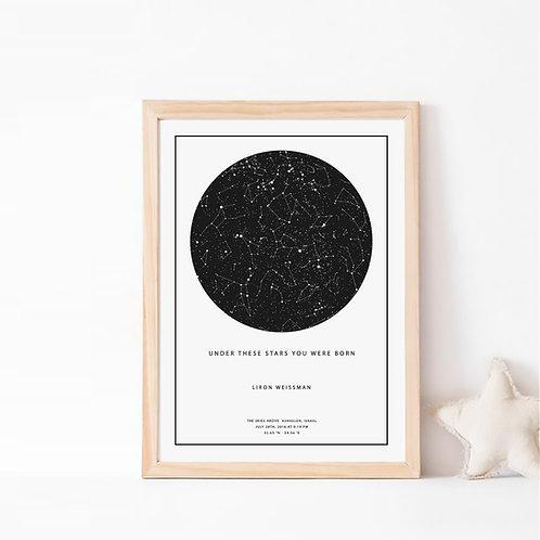 מפת כוכבים מתנה מקורית רעיון למתנה לגבר מתנה לאישה, מתנה ליום נישואין, מתנה לבן זוג מתנה לחתונה, מתנה לחברה מתנה ליולדת