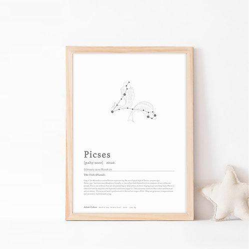 פייסיז- קבוצת כוכבים המייצגת את מזל דגים- צבע קלאסיק