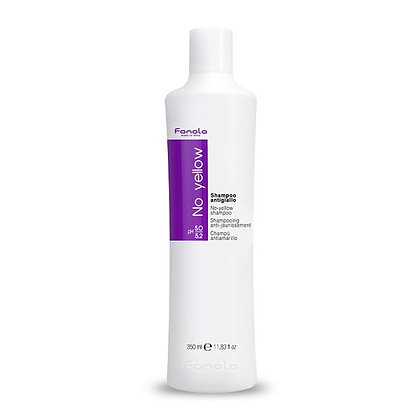 Fanola's No Yellow shampoo is ideal for grey and super-lightened hair. Its violet pigment tones down unwanted yellow.