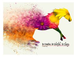 Bright floral horse