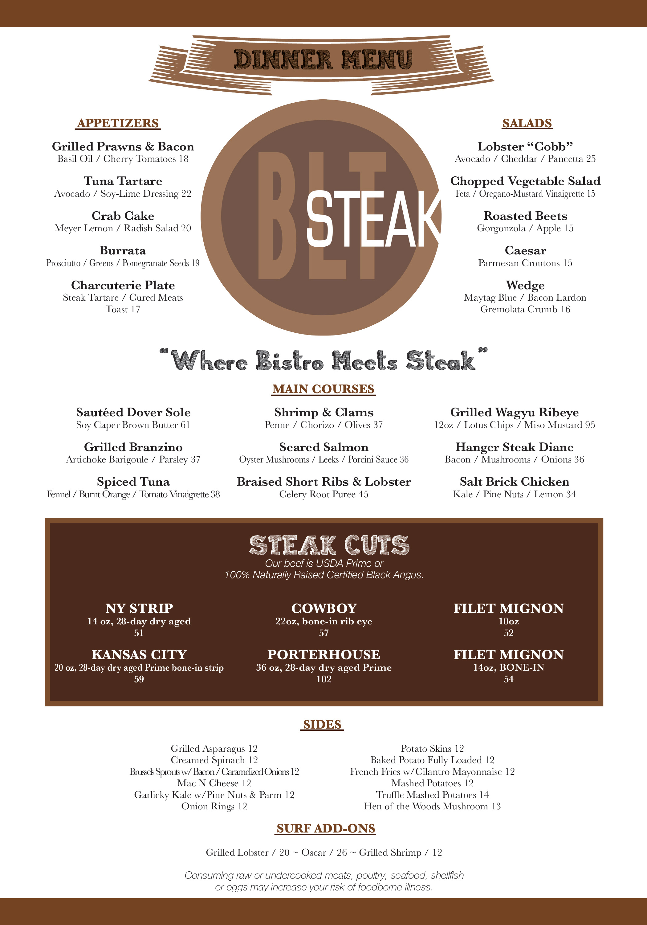 BLT Steak Menu