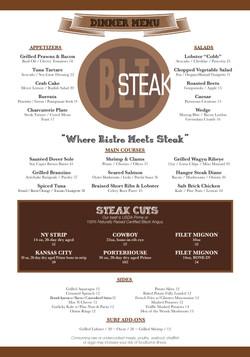 BLT Steak Menu
