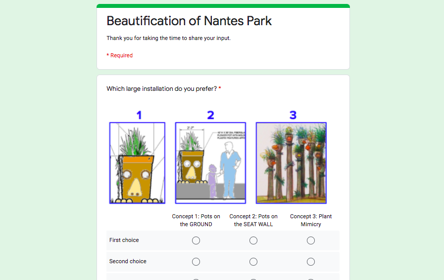 Beautification of Nantes Park Survey