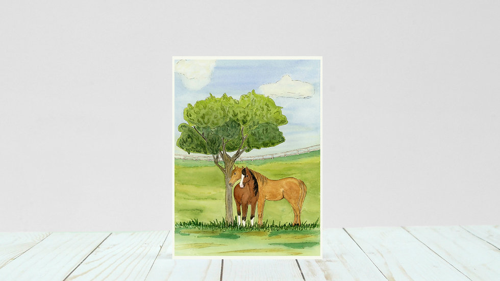 Horse Fields - 5x7 Card