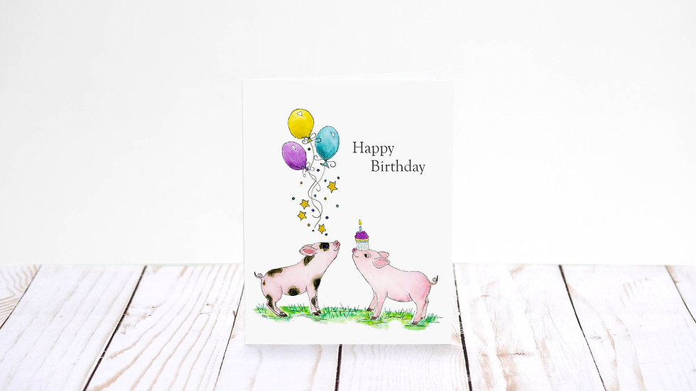 A Piglet Party - 5x7 Card