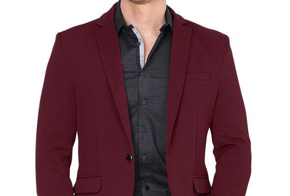 Lamasini Modern Regular Fit Cut Fabric Whit Design Blazer - Wine
