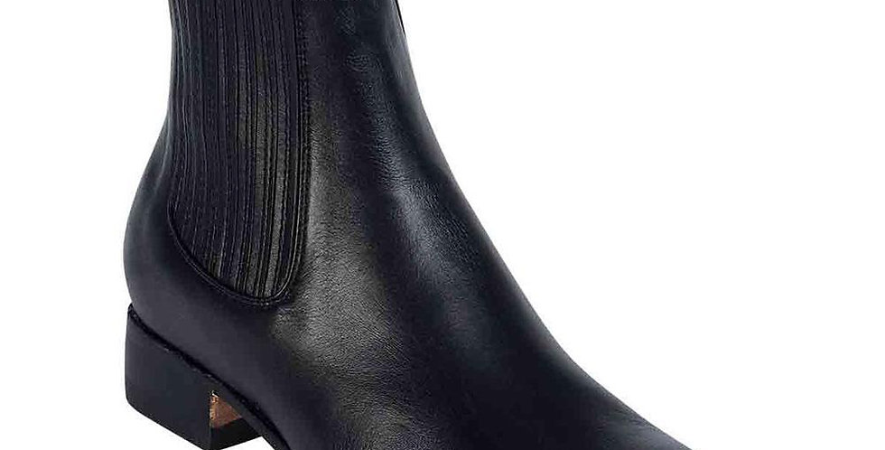 La Barca Men's Black Leather Botin Charro