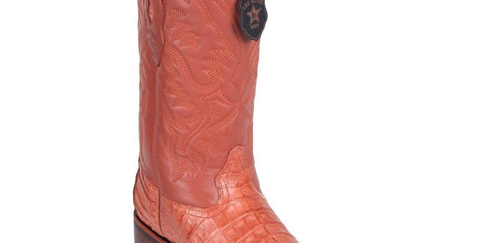 Los Altos Caiman Belly Wide Cognac Square Toe Boots