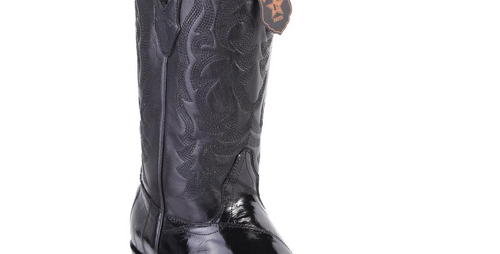 Los Altos Men's Eel Black Snip Toe Western Boots