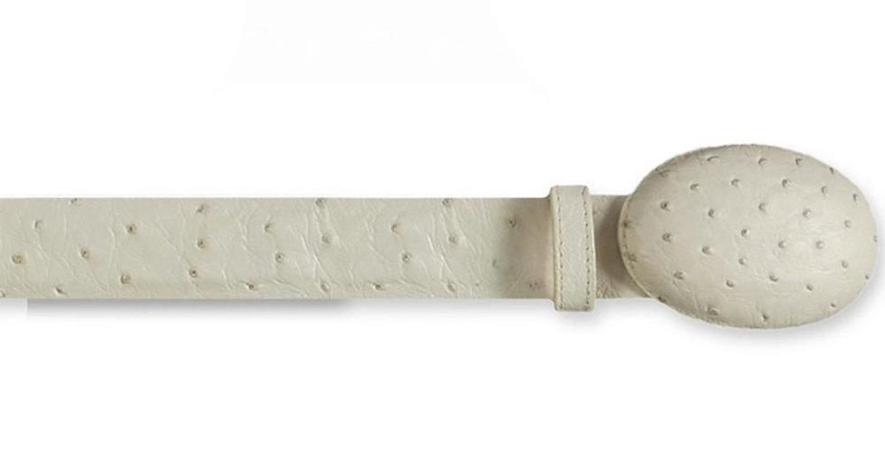 Los Altos Men's White-White Ostrich Cowboy Belt