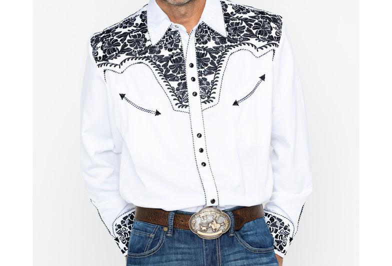 Scully Men's Western Woven Gunfighter Long Sleeve Shirt