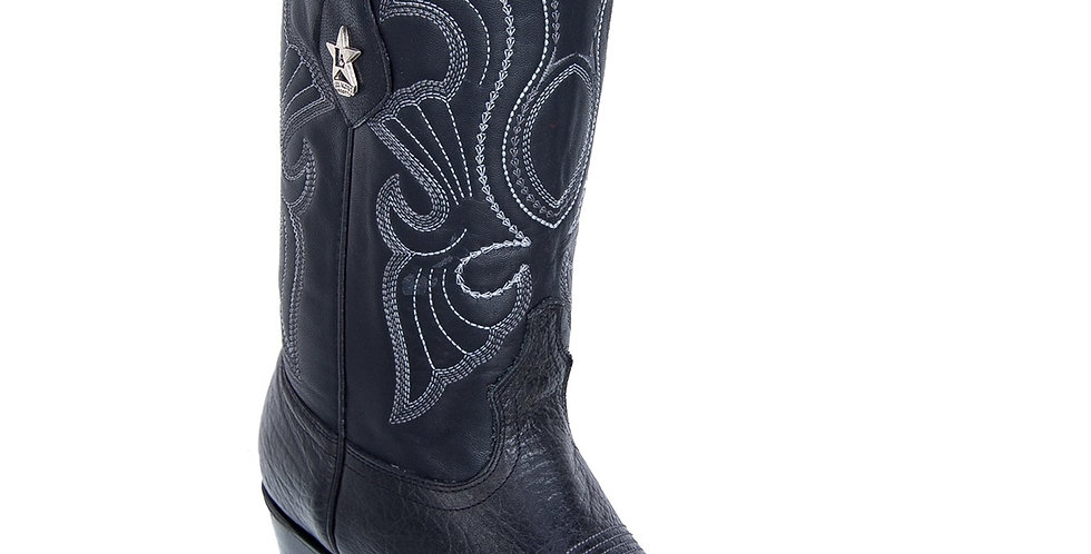 Los Altos Men's Bull Shoulder Black R-Toe Cowboy Boots