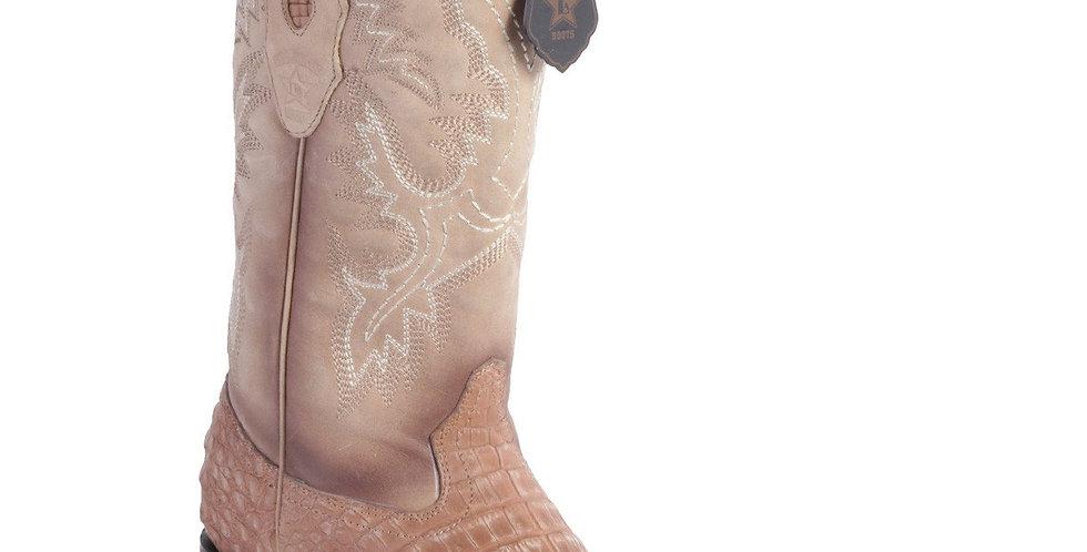 Los Altos Men's Gray/Black Caiman Belly Cowboy Boot