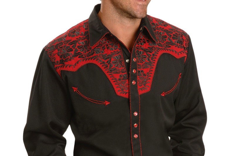 Scully Men's Red Embroidered Gunfighter Shirt