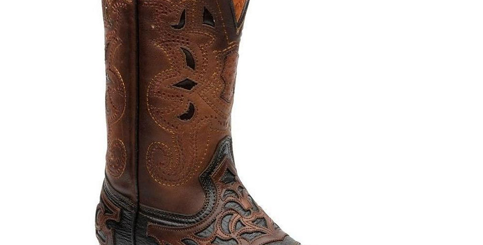 Cuadra Mens Pro Rodeo Square Toe Cowboy Boots - Flame Brown