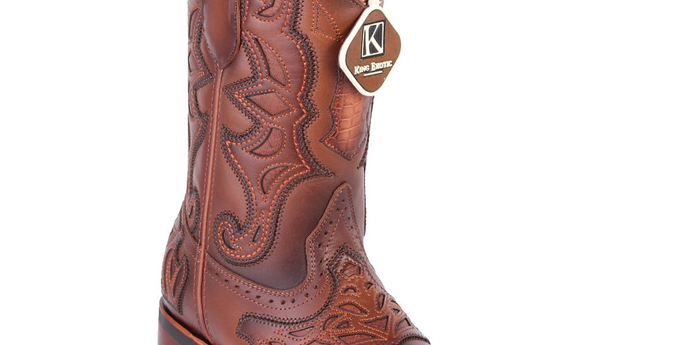 King Exotic Men's Pro Rodeo Caiman Square Toe Boots