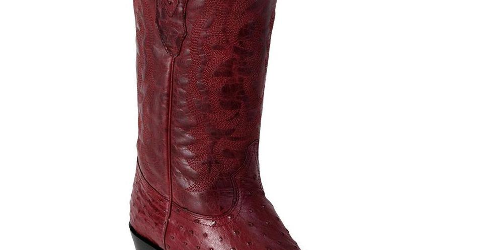 Los Altos Burgundy Ostrich Cowboy Boot J Toe