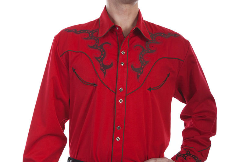 Scully Men's Embroidered Yoke Western Shirt