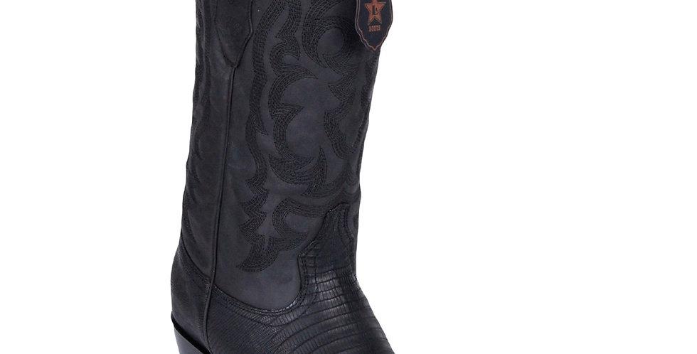 Los Altos Lizard Teju R-Toe Greasy Finish Black Cowboy Boots