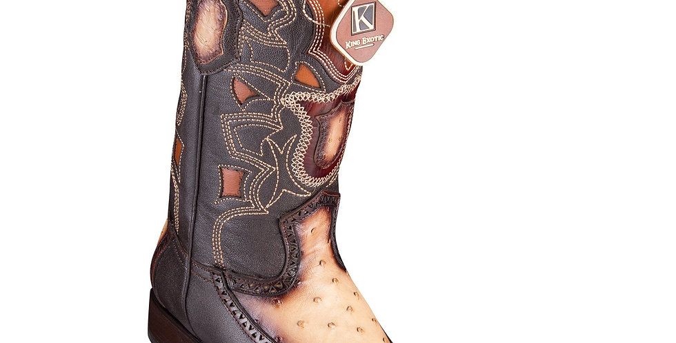 King Exotic Men's Ostrich Faded Oryx Cowboy Boots - H76 European Toe
