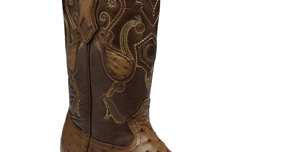 Cuadra Men's Ostrich Chihuahua Pointed Toe Boots - Honey
