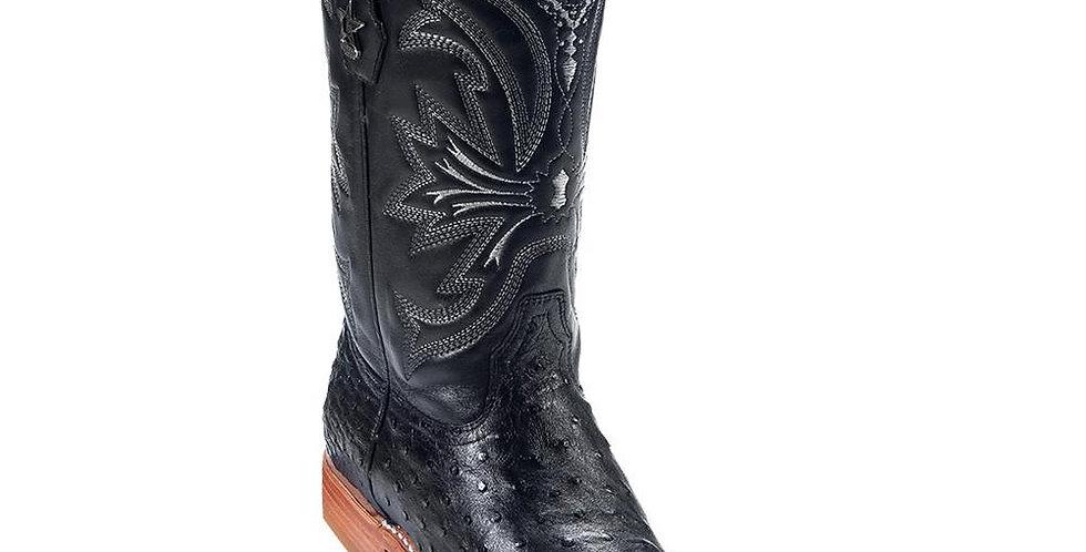 Los Altos Men's Ostrich Black Cowboy Boot European Toe